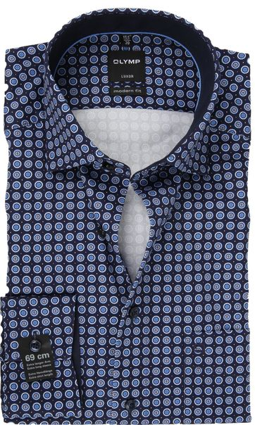 OLYMP Overhemd Luxor SL7 Print Blauw