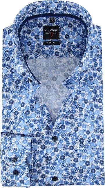 OLYMP Overhemd Lvl 5 Blauw Dessin