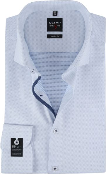 OLYMP Overhemd Lvl 5 Dessin Lichtblauw SL7