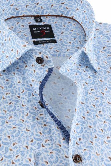 OLYMP Overhemd Lvl 5 Paisley Blauw