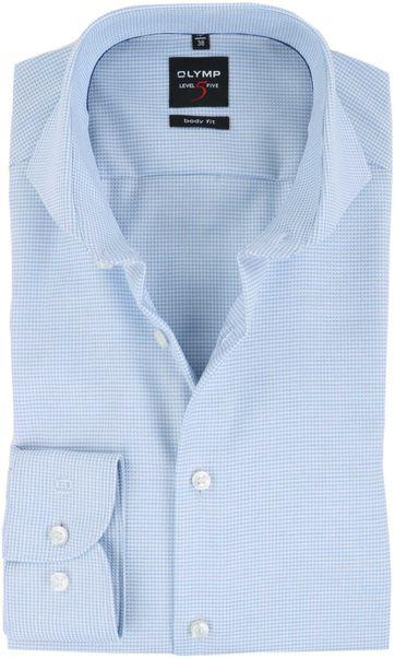 OLYMP Overhemd Strijkvrij Blauw Dessin Body Fit