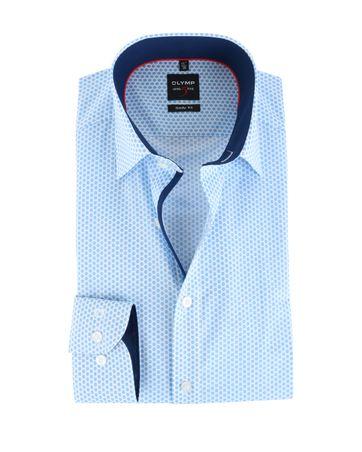 Olymp Shirt Body Fit Blauw Print
