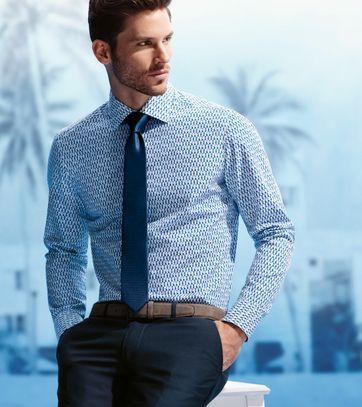 Detail Olymp Shirt Body Fit Blauw Print SL7