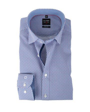 Olymp Shirt Body Fit Blauw + Rood Print