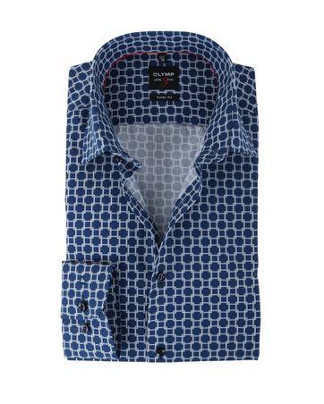 Olymp Shirt Body Fit Donkerblauw Print