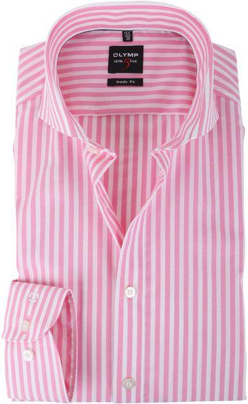 Olymp Shirt Body Fit Fuchsia Streep