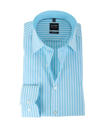 Olymp Shirt Body Fit Turquoise Streep