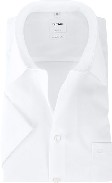 Olymp Shirt Comfort Fit White Short Sleeve