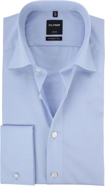 OLYMP Shirt Double Cuff Blue