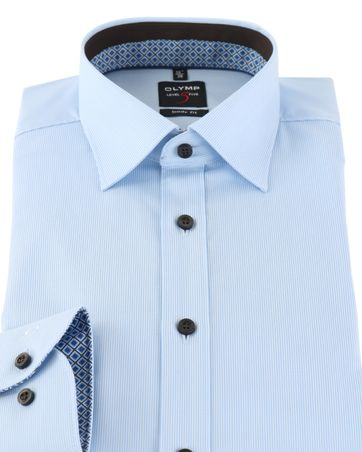 Detail OLYMP Shirt Level 5 Blauw Body Fit Stretch