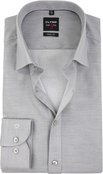 OLYMP Shirt Level 5 Body-Fit Grey