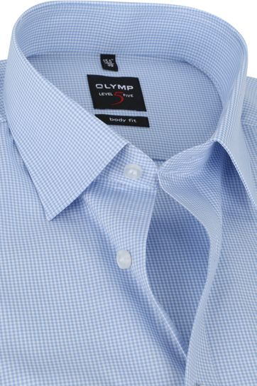 OLYMP Shirt Level 5 Checkered Blue