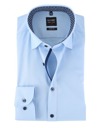 Detail Olymp Shirt Level 5 Licht Blauw Body Fit