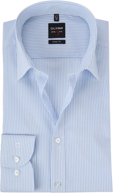 OLYMP Shirt Level 5 Stripes Blue