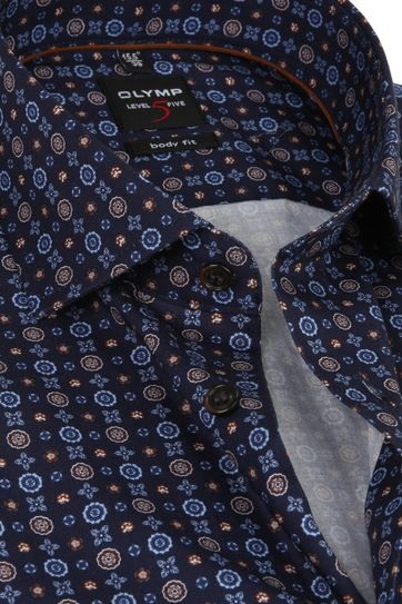 OLYMP Shirt Level Five SL7 Printed Navy