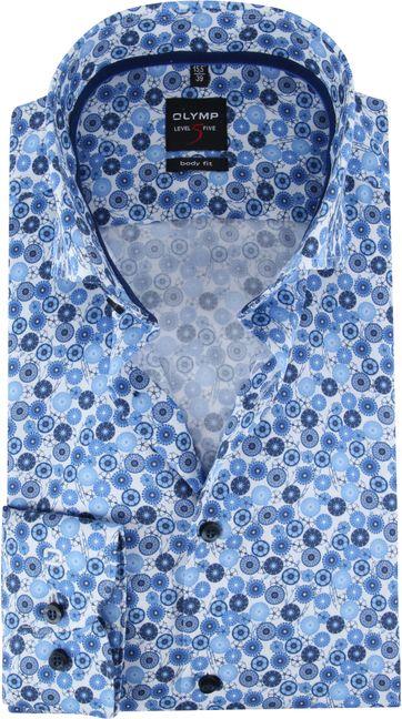 OLYMP Shirt Lvl 5 Blue Dessin