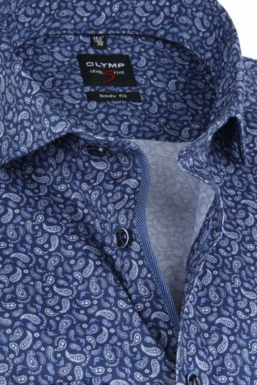 OLYMP Shirt Lvl 5 Paisley Navy