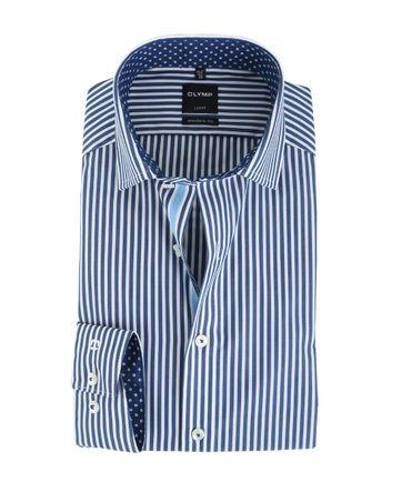 Olymp Shirt Modern Fit Donkerblauw Streep