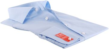 Detail OLYMP Shirt SL7 Modern Fit Blauw Dubbelmanchet