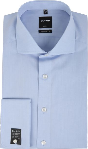 OLYMP Shirt SL7 Modern Fit Blauw Dubbelmanchet