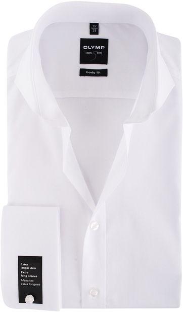 Olymp Shirt SL7 Wit Body-Fit Dubbelmanchet