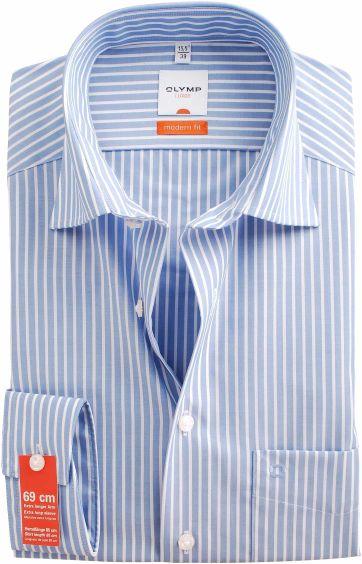 Olymp SL7 Overhemd Blue White Stripe