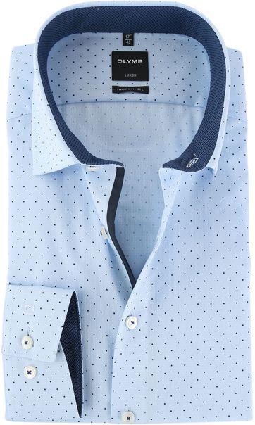 Olymp Strijkvrij Luxor Overhemd Blauw Print