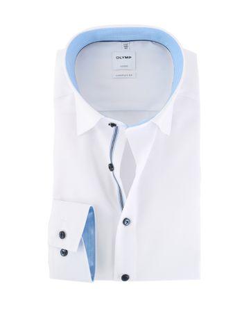Olymp Strijkvrij Luxor Overhemd Wit/Blauw