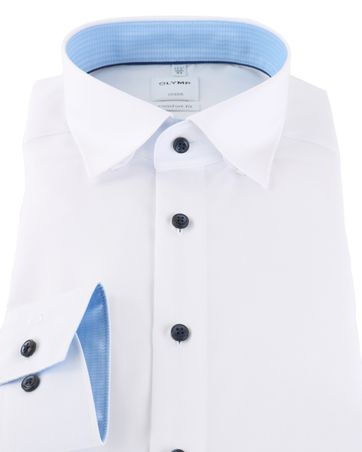 Detail Olymp Strijkvrij Luxor Overhemd Wit/Blauw