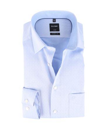 OLYMP Strijkvrij Overhemd Blauw Herringbone