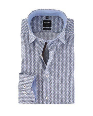 OLYMP Strijkvrij Overhemd Modern Fit Blauw + Bruin