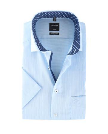 Olymp Strijkvrij Overhemd Modern Fit Blauw Dessin