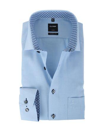 Olymp Strijkvrij Overhemd Modern Fit Blauw Mini Ruit