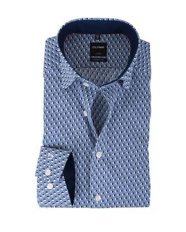 Olymp Strijkvrij Overhemd Modern Fit Blauw Print