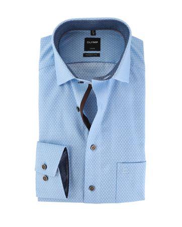 OLYMP Strijkvrij Overhemd Modern Fit Blauw Punt