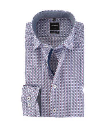 OLYMP Strijkvrij Overhemd Modern Fit Blauw + Rood