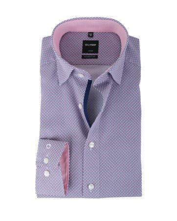 Olymp Strijkvrij Overhemd Modern Fit Blauw + Roze