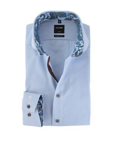 OLYMP Strijkvrij Overhemd Modern Fit Blauw Streep