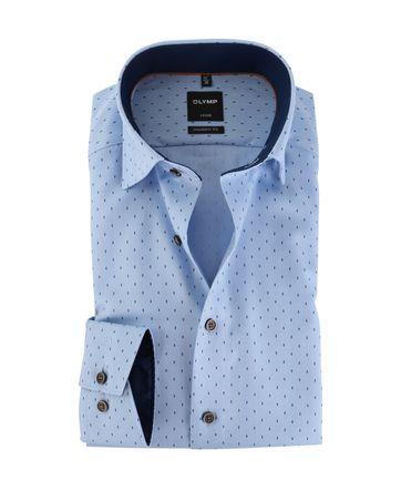 OLYMP Strijkvrij Overhemd Modern Fit Blauw Visgraat