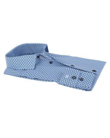 Detail Olymp Strijkvrij Overhemd Modern Fit Blauwe Print