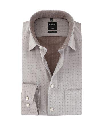 OLYMP Strijkvrij Overhemd Modern Fit Bruin Punt