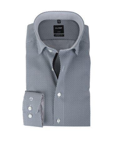 Olymp Strijkvrij Overhemd Modern Fit Grijs Prints