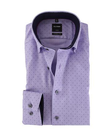 OLYMP Strijkvrij Overhemd Modern Fit Paars Visgraat