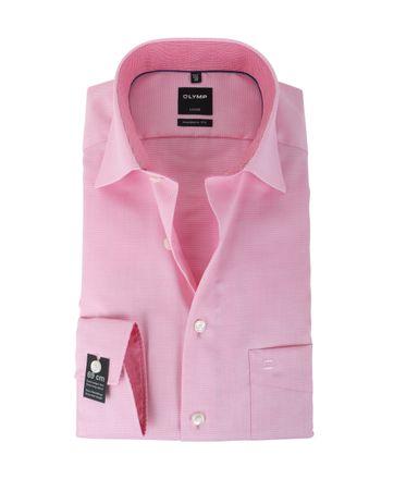 Detail Olymp Strijkvrij Overhemd Modern Fit Roze Dessin SL7