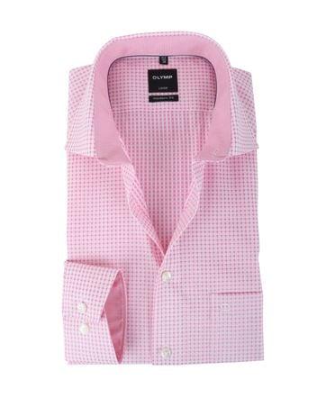 Olymp Strijkvrij Overhemd Modern Fit Roze Print