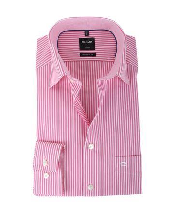 Olymp Strijkvrij Overhemd Modern Fit Roze Streep