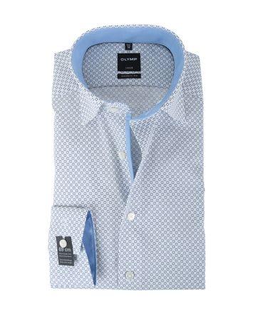 Olymp Strijkvrij Overhemd Modern Fit Wit Print SL7
