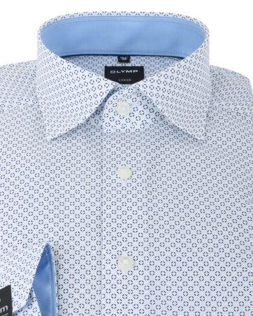 Detail Olymp Strijkvrij Overhemd Modern Fit Wit Print SL7