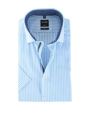 Olymp Strijkvrij Shirt Modern Fit Blauw Streep