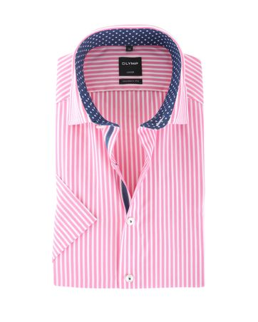 Olymp Strijkvrij Shirt Modern Fit Roze Streep